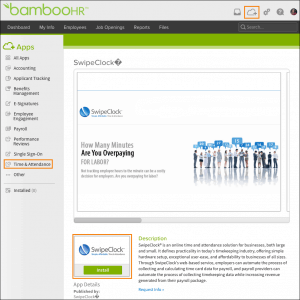 Bamboohr dashboard Swipeclock
