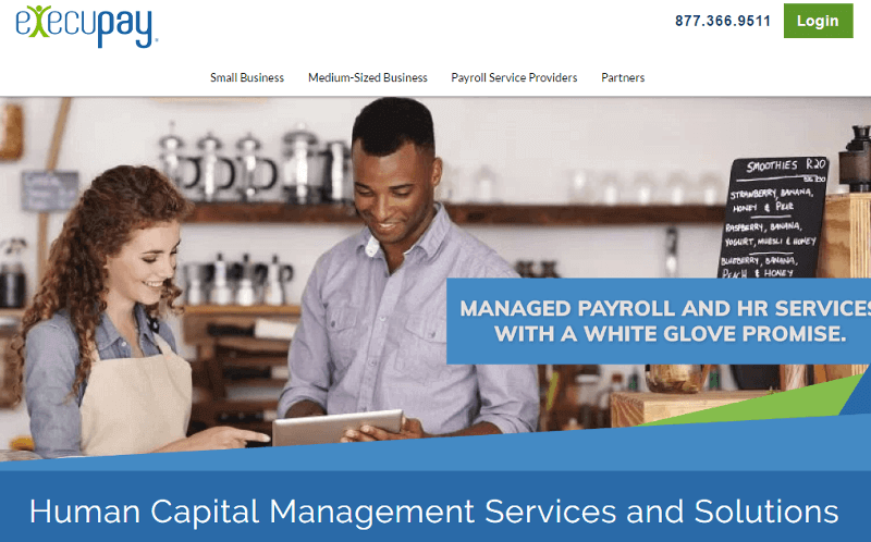Picture of the Execupay homepage