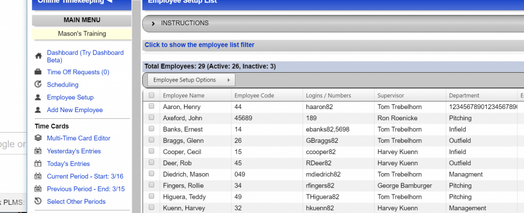 Swipeclock execupay Integration view employees