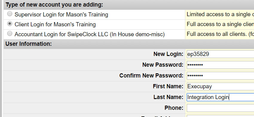 Creating Client login in SwipeClock's Login Maintenance