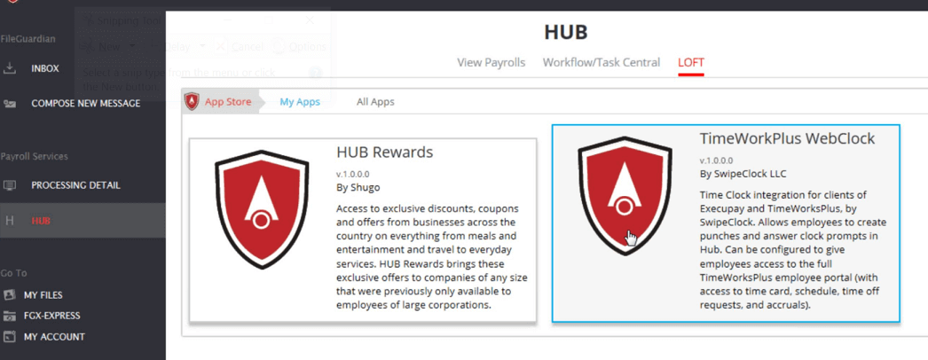 Screenshot of TimeWorksPlus in the Shugo HUB LOFT store