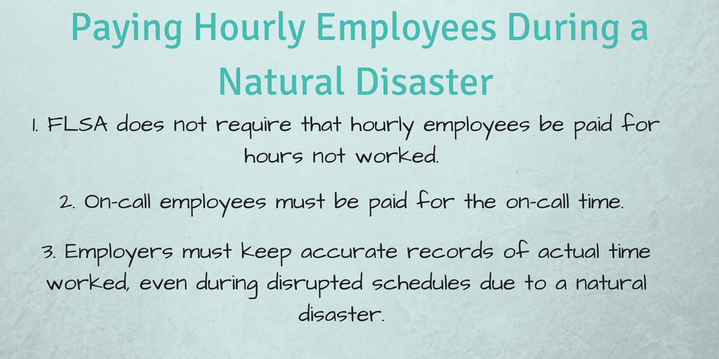 Paying hourly employees during a natural disaster infographic