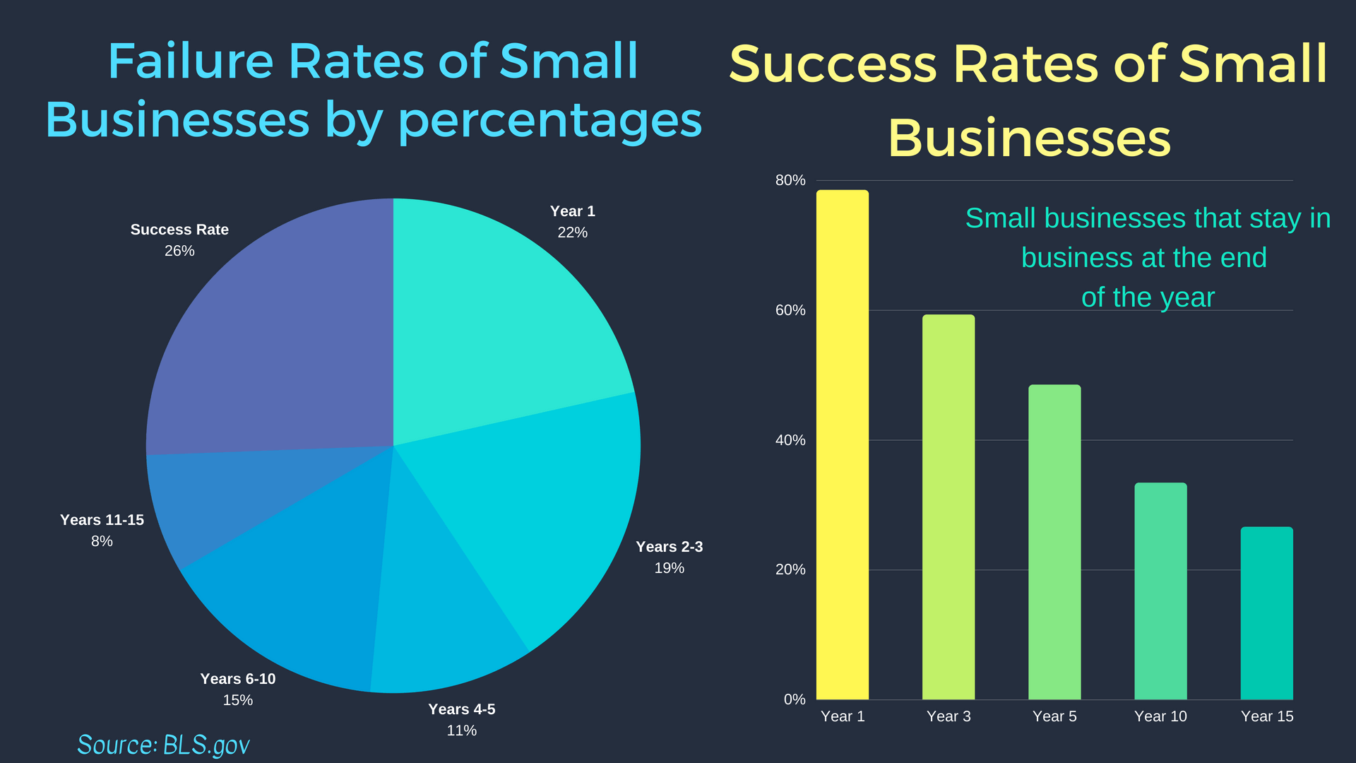 The annual fail rate for small businesses years 1-15 Pie Graph and the succecss rate for SMBs years 1-15 Line graph